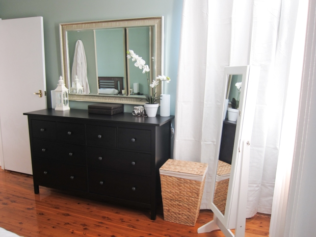 IKEA dresser, IKEA mirror, laundry basket from Bunnings