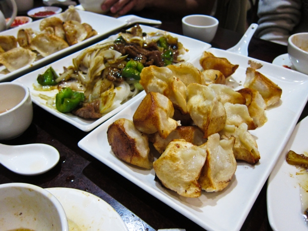 Assorted dumplings (beef and leek, lamb and onion, chicken and shitake mushroom) and pan fried flat rice noodles with beef in black bean sauce.