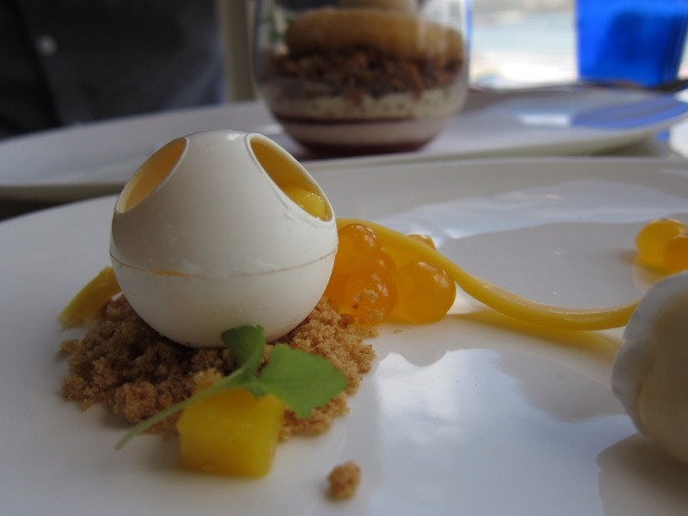 White Chocolate Sphere filled with Mango Curd
