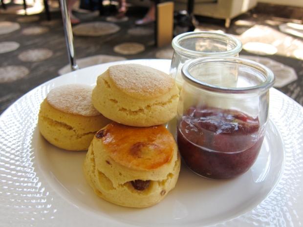 Scones, strawberry jam, clotted cream.