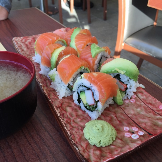 Tasmania Roll - Salmon and avocado layered on top of California roll - $21.50