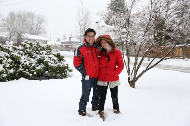 Not in Whistler - this was the snow storm that rolled in when Anh came and he was delighted! I was not :(