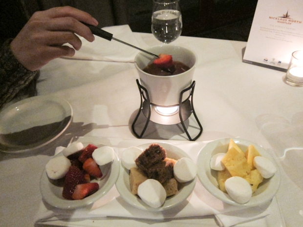 Chocolate fondue to finish.